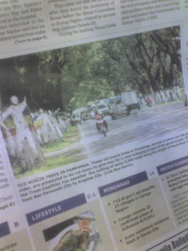 A photo in the frontpage of the Manila Bulletin, formerly the nation's leading newspaper.