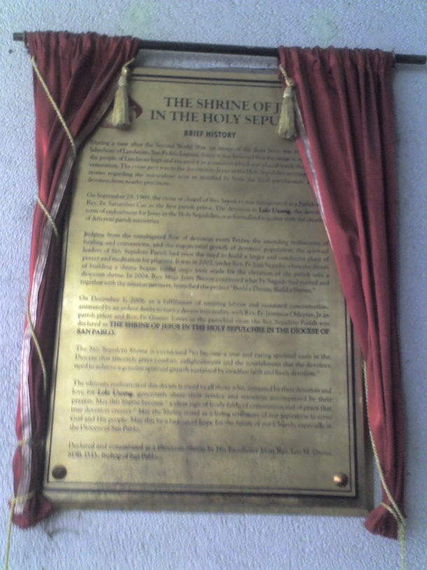The church's brief history in bronze.