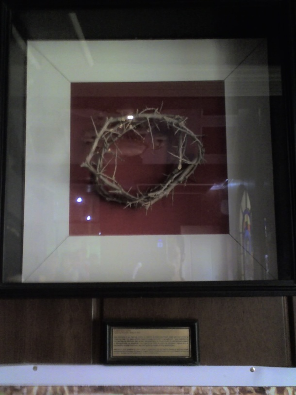 This crown of thorns was made from the very same plant that produced the original crown which bloodied our Lord's head.
