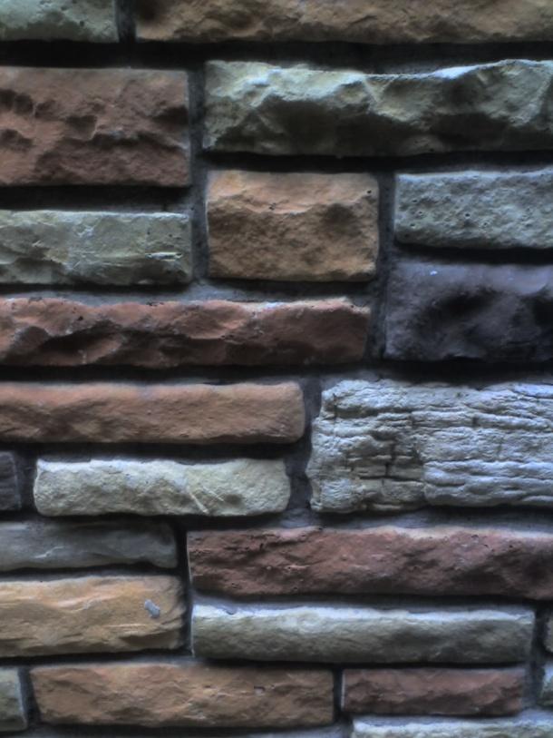 Brightly colored bricks.