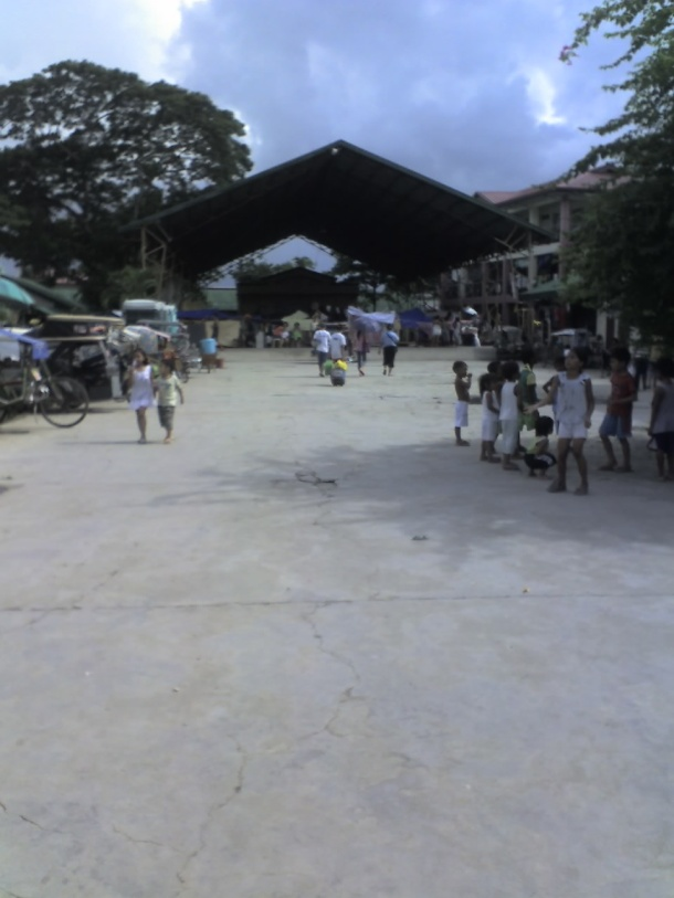 The school's multi-purpose gym, converted into an evacuation center.