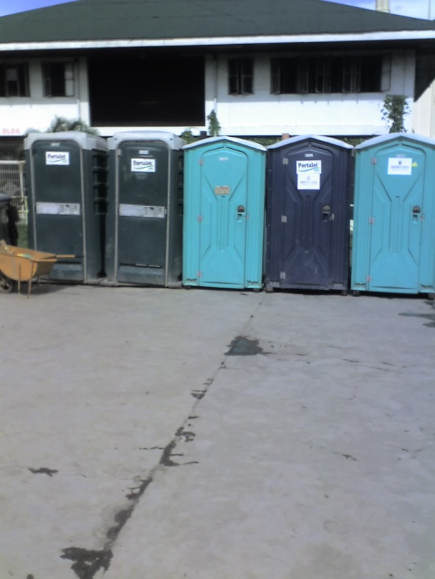 Aside from the few school toilets, these are the only portable toilets available; probably not enough to accomodate all of the evacuees.