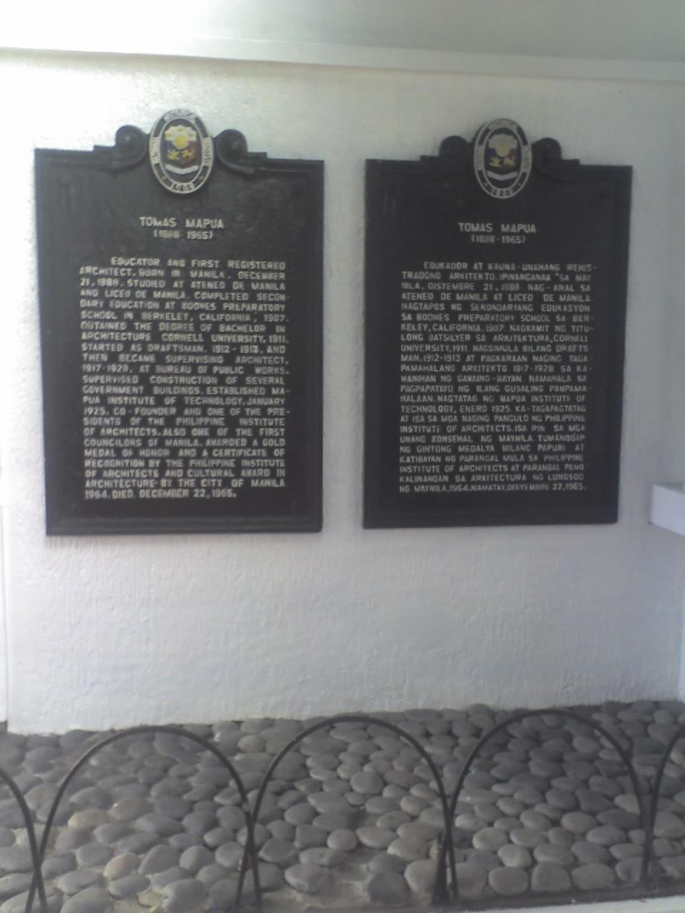 TOMÁS MAPÚA HISTORICAL MARKERS