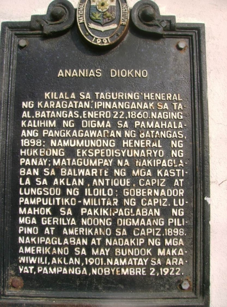 Ananias Diokno historical marker.