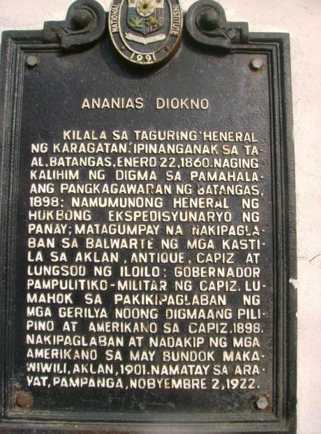 Ananias Diokno historical marker.