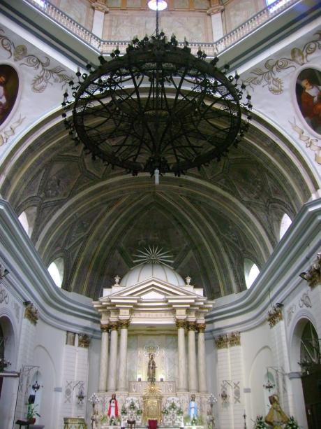 The church's imposing interiors.